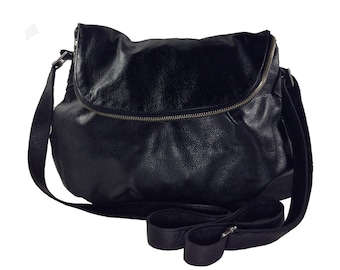 Black Cross-body Leather Flap Bag - Handmade Great space, beautiful interior lining hidden pocket in the flap. Interior pockets