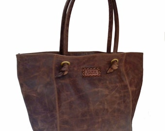 Oversized brown leather tote. Purse, handbag, hobo. Silky linen. Laptop bag