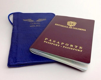 Passport Cover Navy blue Leather passport Holder, Passport case, Travel with me, great for men and women with pen holder