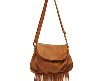 Camel Cross Body Fringed Flapover Leather Bag Galata Handmade Great space, hidden pocket in flap. Interior pockets