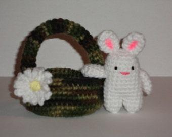 Crochet Amigurumi Bunny and Basket....Mini Easter Bunny