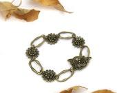 antique bronze chain dragonfly flower Bracelet - bronze bracelet