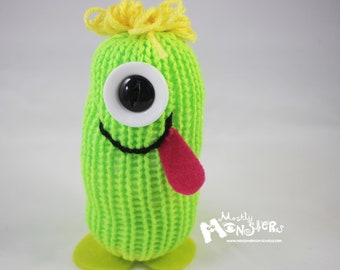 Knitty-kins knit monster toy; silly monster friends; Knitty-kins knit toy; Pickle knitted monster; Tall green  Monster; Neon green pickle