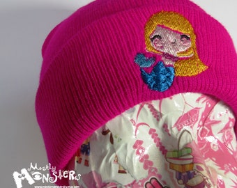 Embroidered Beanie Magenta Mermaid: knit beanie Chibi Mermaid; Mermaid hat; OOAK Embroidered knit hat; Mermaid magenta; Embroidered mermaid