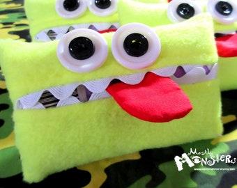 Hankie Kreature; Tissue Holder; Pocket Tissue; Travel hankie;  back to school; purse pal; tissue cover; NEON yellow tissue monster