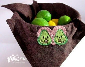Embroidered Avocado basket liner; embroidered napkin; Avo-couple  embroidered liner; bread cloth embroidered; embroidered Avocados