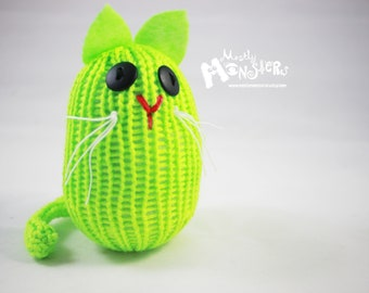 Knitty-kins knit kitty toy; silly cat friends; Knitty-kins knit toy; Green cat; Neon Lime cat; knitted green kitty; neon green lime kitty