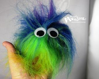 Fuzzie Monster ball; blue RaInbow fuzzie monster; monster toy fluffy; faux fur monster rainbow;  rainbow monster blue green