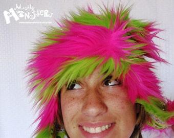 Fuzzy Monster Aviator hat, Rainbow Sherbet Stripes Plushie, hot pink & lime green stripes, jellybean bunnies lining, earflap hat