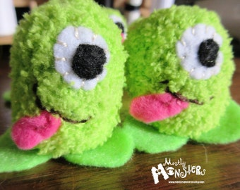 THUMBKIN Lime Monster;Fuzzy green Monster; kawaii toy;tiny knit toy; pocket plushie; Thumbkin toy; repurposed gloves; Lime Fuzzy Monster Toy
