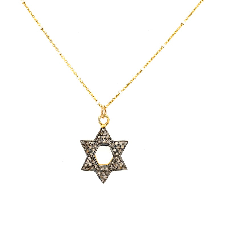 Diamond Paved Star of David Vermeil pendant and Gold Filled chain 18/'/' necklace