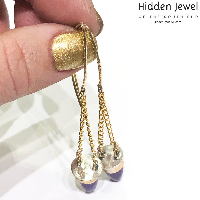 oval purple earrings sugilite earrings Sugilite Sterling Silver dangling purple bullet earrings with gold accents purple earrings E167