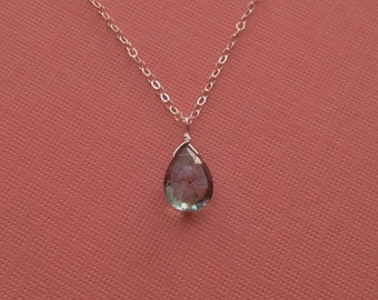 Mystic Green Quartz Necklace in Sterling Silver -Green Gem Necklace in Sterling