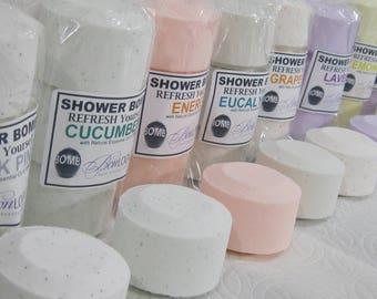 THREE 3 Packs - SHOWER BOMBs PK ReFreshing Aromatherapy: Lavender, Energy, Eucalyptus, Rosemary Mint, Peppermint, Lemongrass, Jasmine n More