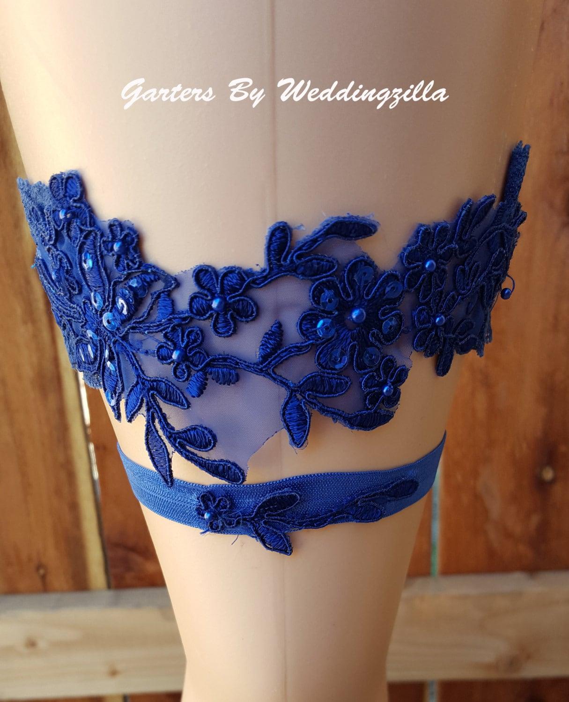 Royal Blue Lace Wedding Garter Set/ Lace Bridal Garter Set