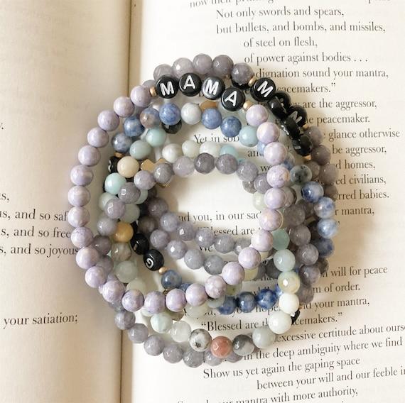 Custom Word with Accent Beaded Bracelet