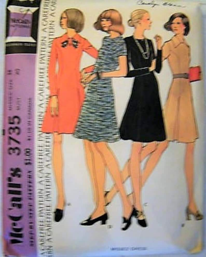 0ae9f75eef4 McCall s 3735 Vintage 70s Dress Sewing Pattern A Line