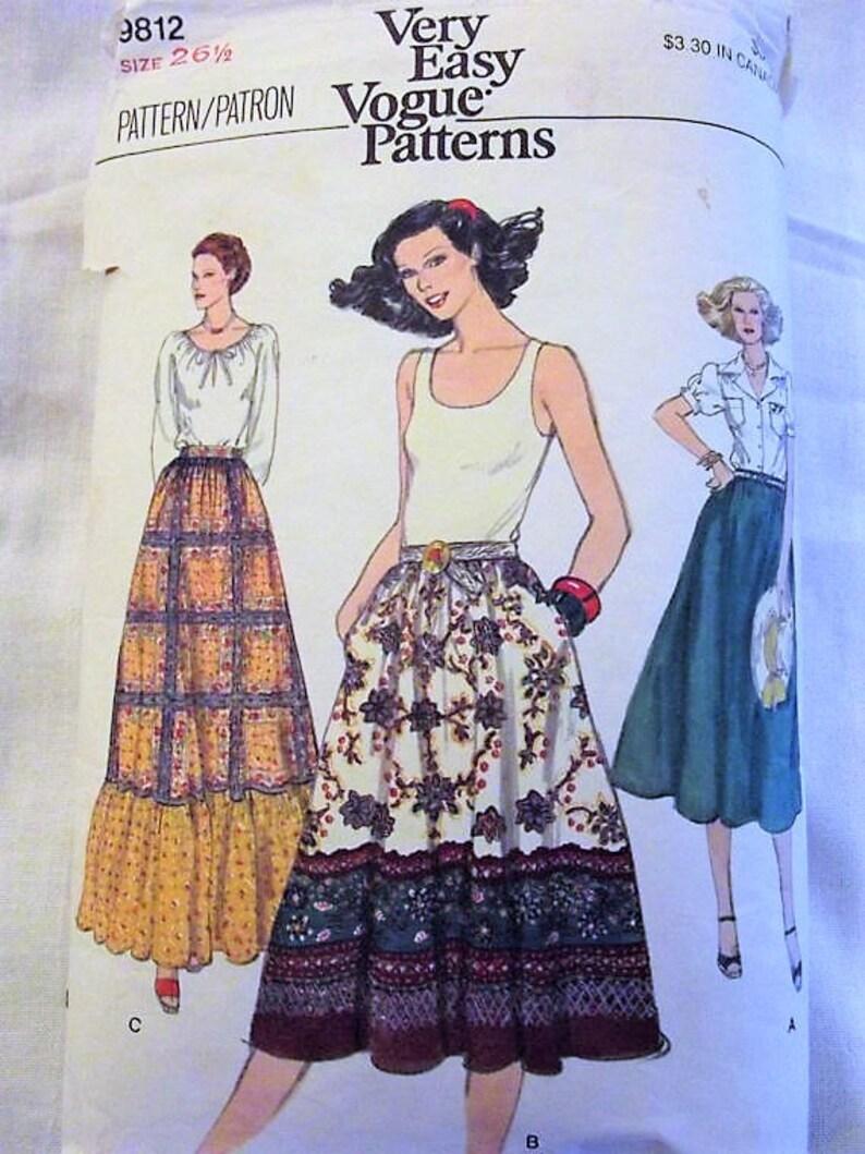 490ede18e39c Vogue 9812 60s 70s Skirts Pattern Festival Skirt Prairie