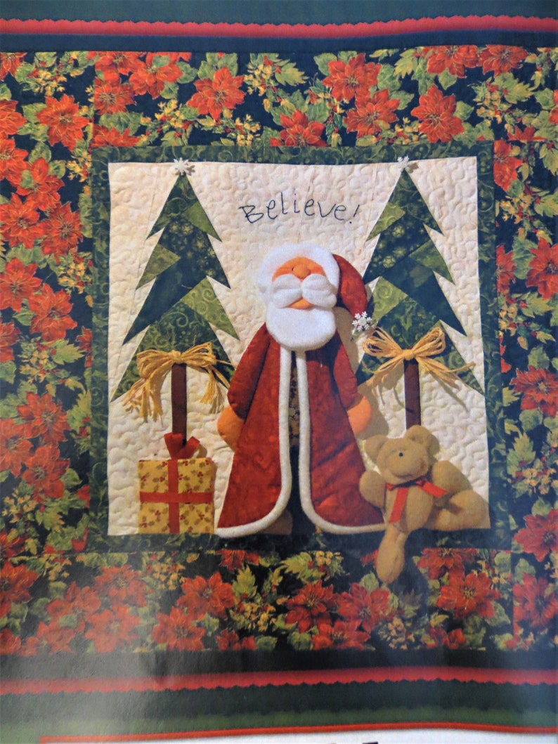 Teddy Bear Santa Quilt Pattern, Funny Santa in Pajamas Christmas Wall  Quilt, Paper Pieced, Thimble Art, Ruth Jensen, size 18 x 18 in