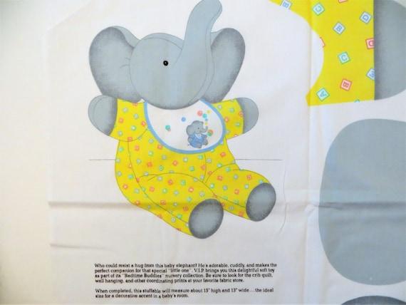 Elephant Fabric Panel Cut Sew And Stuff Baby Elephant Etsy