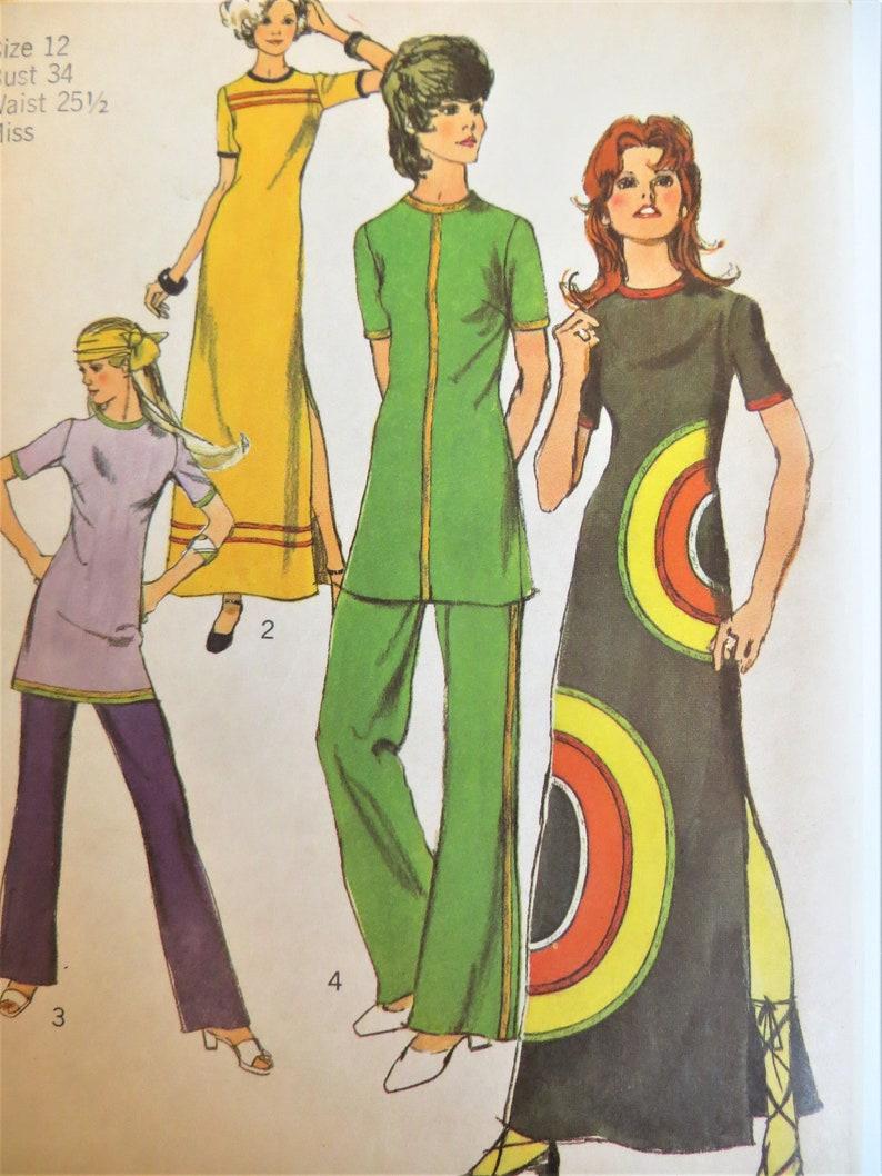 ab4c70ac9 Simplicity 9488 70s Sewing Pattern Mod Dress Tunic Pants   Etsy