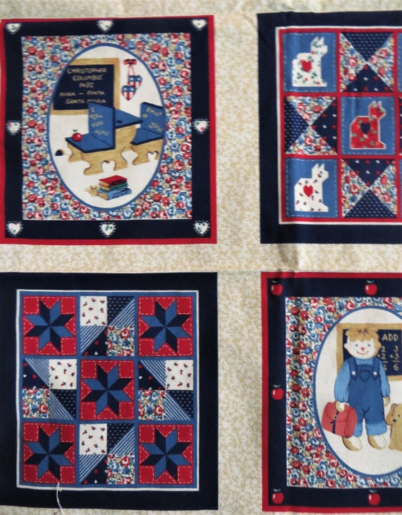10 Printed Quilt Blocks Fabric Panel Patriotic Country Rustic, Red White  Blue Bears Cats Children USA Flag Wamsutta Quilting Cotton Cheater