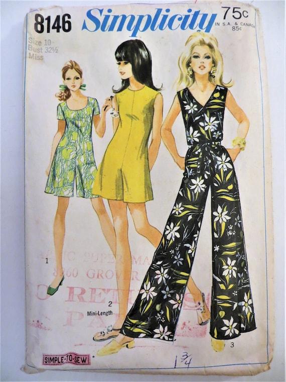 Simplicity 8146, 1960s Culottes, Jumpsuit, Pantdress, Sleeveless, Short Sleeves, Size 10 Bust 32, Boho Style