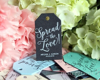 Wedding Favor Tags Spread the Love! Custom Personalized Names & Date Thank You Tags -Perfect for Jam, Honey, Jelly, Butter Tags Bulk Listing