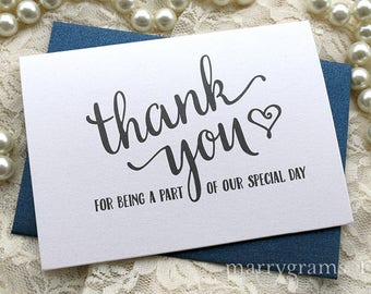 Wedding Vendor Thank You Note Card Set Thank You for Being a Part of Our Special Day Vendor, Florist, Caterer, DJ, Venue CHOOSE AMOUNT CS15