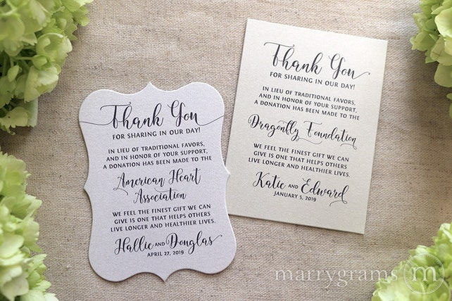 Wedding Donation Favor Cards - In Lieu of Favors Reception Place Card - Custom Donation Table Cards In Memoriam of, Donate Note Cards SS14