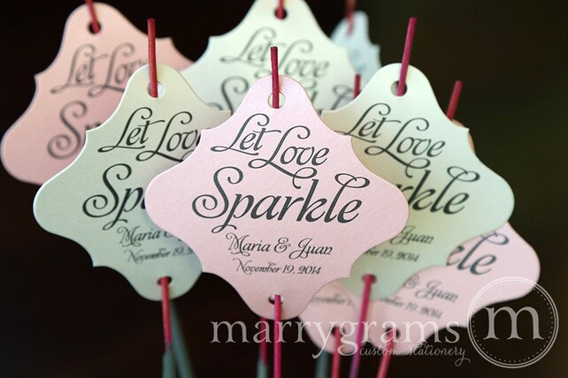Sparkler Tags - Let Love Sparkle Wedding Favor Tags Custom w Bride, Groom Names & Date -For Sparklers Gold, Navy, Pink, Silver (24 / 36ct)