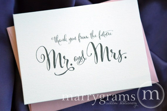 Bridal Shower Thank You Cards -Wedding, Newly Engaged Couple's Shower Card-Thanks From the Future Mr. & Mrs. Fancy, Pink Shimmer (25ct) CS07