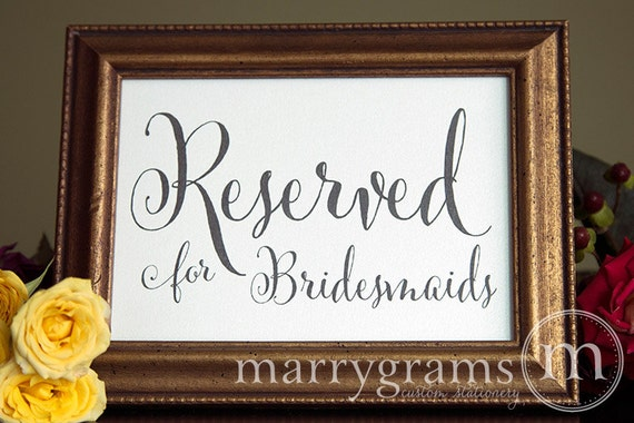 Reserved for Bridesmaids and Groomsmen Sign Table Card - Wedding Reception Seating Signage (Set of 2) Matching Table Numbers Available- SS07