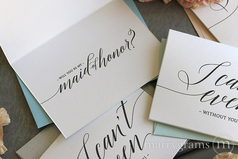 Personalized Light Gray Bridesmaid Proposal Card Calligraphy Modern Script Handwritten   Will You Be My Bridesmaid not printed