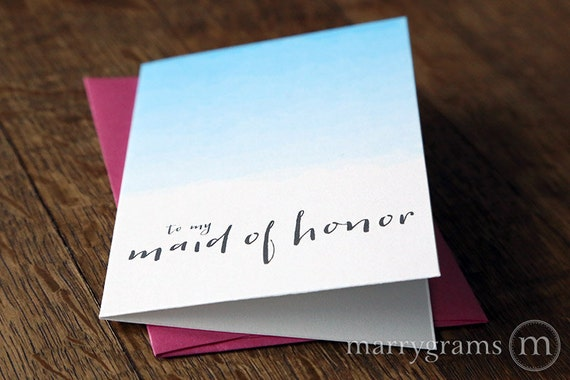 To My Bridesmaid Thank You Cards Maid Of Honor Matron Etsy