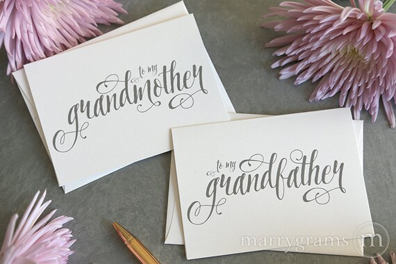 Wedding Card to Your Grandparents - Grandparent of the Bride or Groom Cards, Grandmother, Grandfather On My Wedding Day Thank You Note CS12