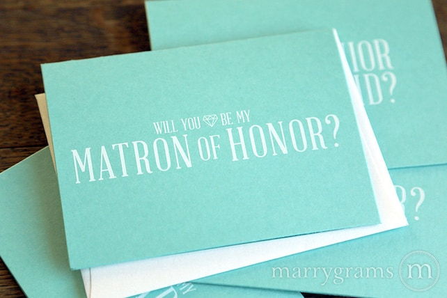 Will You Be My Bridesmaid Cards - Pretty, Fun Way to Ask Bridal Party - Flower Girl, Matron, Maid of Honor Lagoon Wedding Cute (Set of 5)