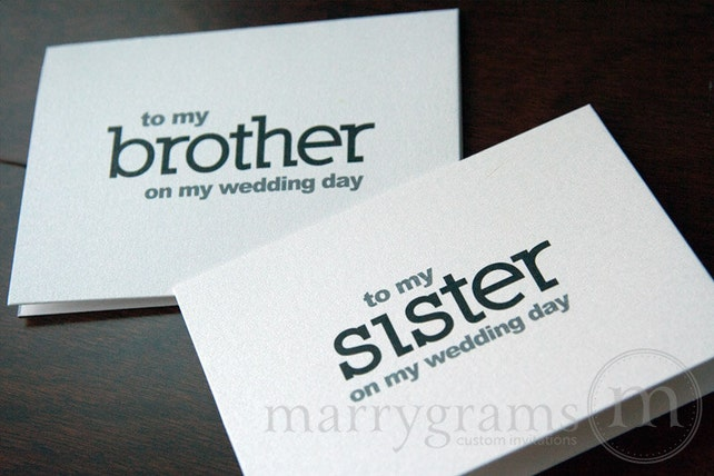 Wedding Card to Your Brother or Sister - Siblings of the Bride or Groom Cards - To My Brother on My Wedding Day Notecards Sis Bro (Set of 2)