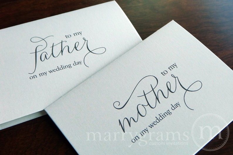 Wedding Card to Your Mother and Father - To My Parents of the Bride Groom Cards - Stepmother or Stepfather On My Wedding Day (Set of 2) CS01 photo