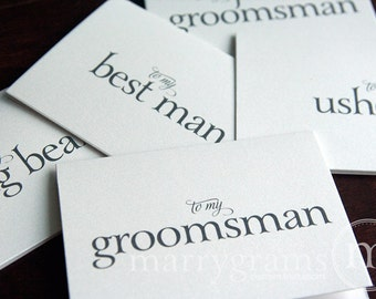 To My Bridesmaid Bridal Party Wedding Thank You Cards - Maid of Honor, Matron, Bridesman, Man of Honor, Ring Bearer, Flower Girl CS08