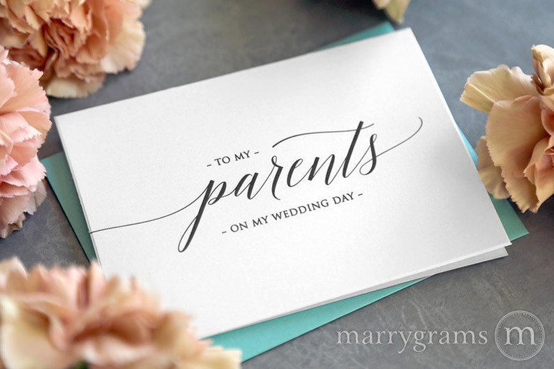 Wedding Card to Your Parents - On My Wedding Day Keepsake Thank You Cards - Special Note to go w Gift for Parents of the Bride or Groom CS13 photo