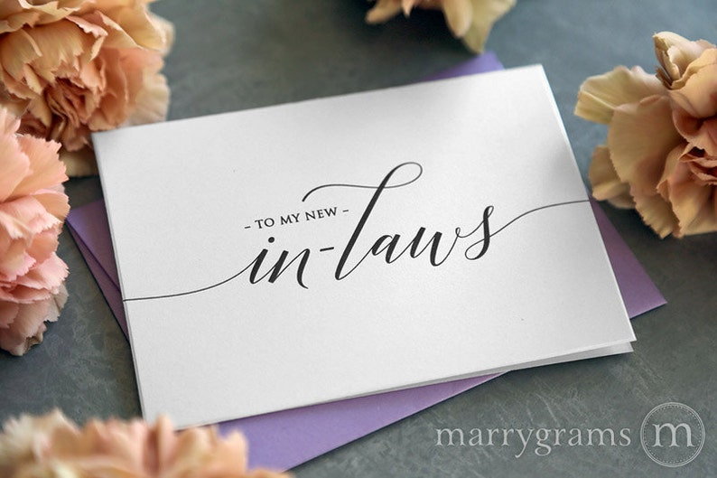 Wedding Card to Your New Mother and Father in-Law - Inlaws Card Gift, Keepsake Note- Parents of the Bride or Groom Wedding Day Cards - CS13 photo