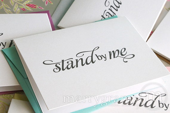 Will You Be My Bridesmaid Cards Stand By Me - Maid of Honor, Wedding Party- Cute Card to Ask Bridesmaid, Bridesman, Matron Bridal (Set of 5)