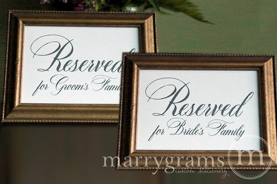 Reserved for Bride and Groom's Family Sign Table Cards- Wedding Reception, Ceremony Seating Signage (Set of 2) Matching Table Numbers -SS04