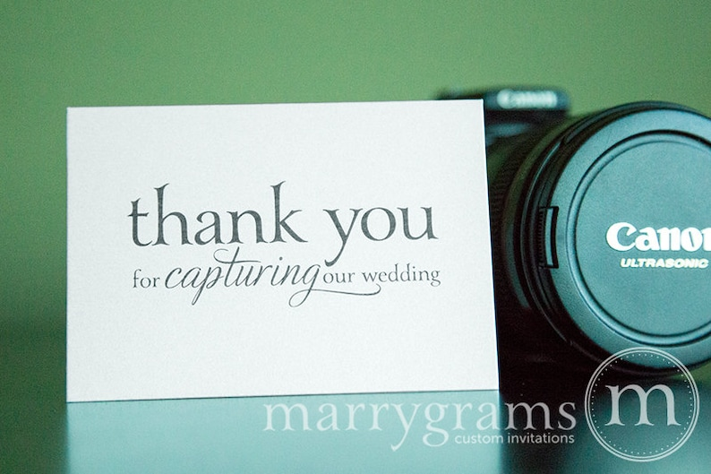 Wedding Card to Your Photographer -- Thank You for Capturing Our Wedding - Videographer photo