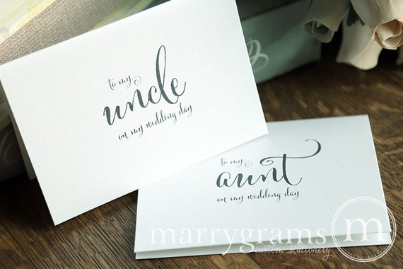 Wedding Card to Your Aunt and Uncle - Family of the Bride or Groom Cards - To My Aunt on My Wedding Day - Cute Thank You Notecard Gift CS07