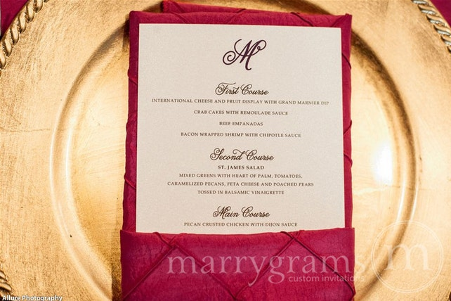 Simple, Chic Wedding Menu Cards - Flat with Monogram Design (50 count) Wedding Reception Sign Plated Dinner Menu SS05