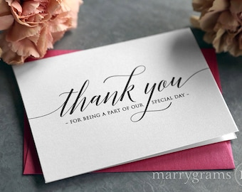 Wedding Thank You Note Card Set - Cute Thank You for Being a Part of Our Special Day Vendor, Florist, Caterer, DJ, Venue CHOOSE AMT CS13
