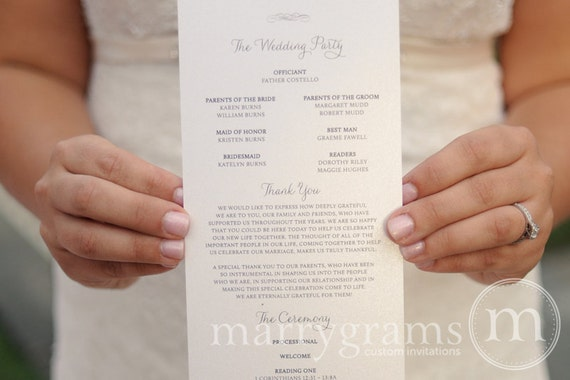 elegant wedding programs single sided flat programs fast etsy