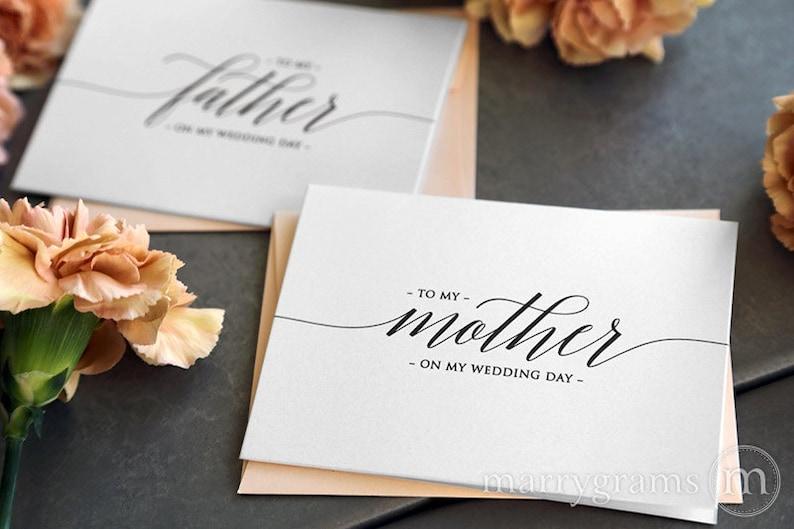 Wedding Card to Your Mother and Father - To My Parents of the Bride Groom Cards - Stepmother, Stepfather On My Wedding Day (Set of 2) CS13 photo